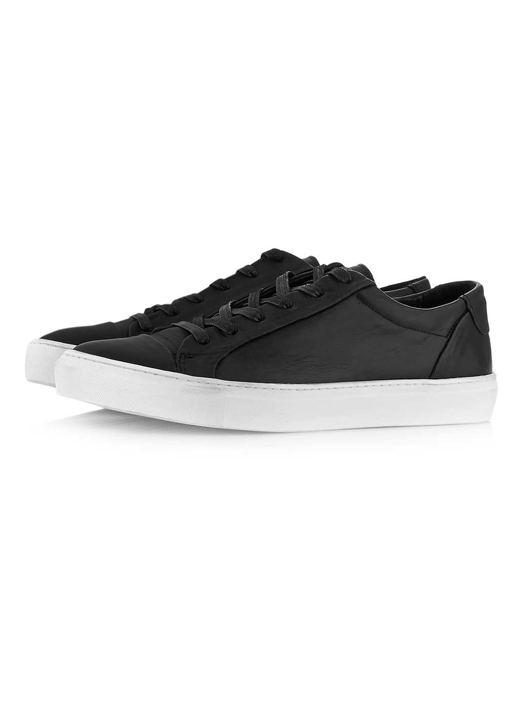 Tux Black Leather Tennis Shoes - Plimsolls & Trainers - Shoes and Accessories - TOPMAN